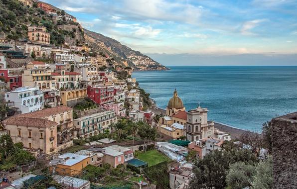 Картинка море, пейзаж, побережье, здания, Италия, залив, Italy, Campania, Amalfi Coast, Позитано, Positano, Gulf of Salerno, …