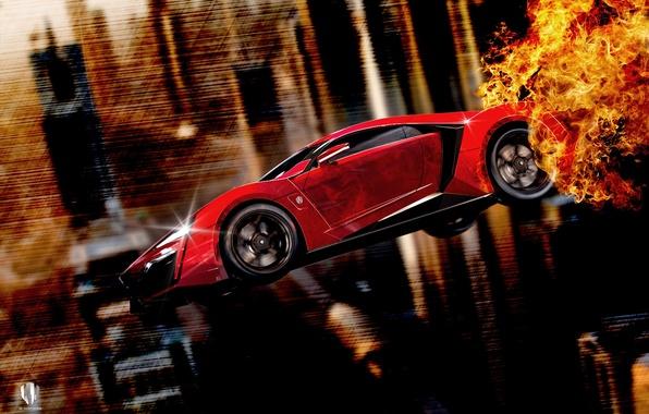 Картинка Red, Fire, Side, Fly, Lykan, W Motors, Furious 7, Hypersport