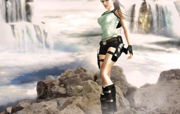 Картинка взгляд, вода, девушка, лицо, оружие, пистолеты, шорты, водопад, майка, перчатки, lara croft, tomb raider
