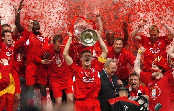 Картинка ленты, золото, футбол, победа, капитан, Italy, cup, кубок, 2005, victory, Istanbul, captain, празднование, football wallpapers, …