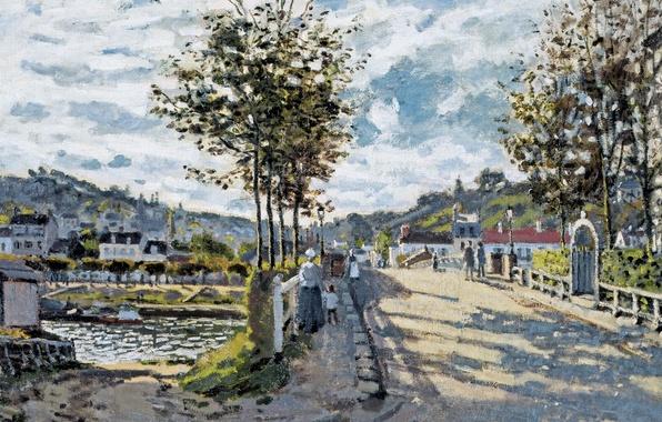 Картинка пейзаж, картина, Клод Моне, Мост в Буживале