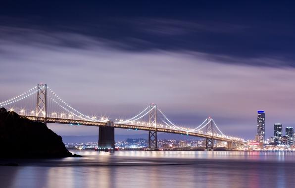 Картинка небо, вода, облака, мост, city, город, lights, огни, отражение, река, здания, дома, river, sky, water, …