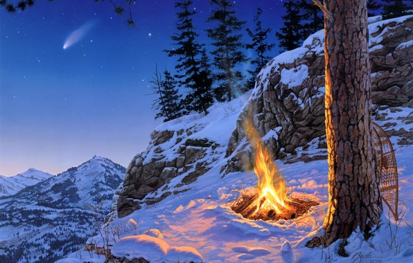 Картинка зима, звезды, снег, пейзаж, горы, ночь, ель, костер, сосны, живопись, Darrell Bush, звездопад, Once in …