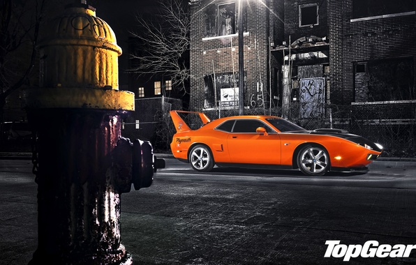 Картинка ночь, оранжевый, улица, тюнинг, фонарь, Top Gear, Dodge, Challenger, мускул кар, вид сбоку, tuning, самая …