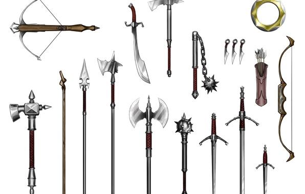 Картинка spears, crossbow, quiver, mace, flail, long sword, scimitar, war hammers, short sword, battle axes, halberds, …