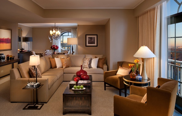 Картинка дизайн, стиль, лампы, комната, диван, окна, интерьер, подушки, кресла, картины, коричневый, гостиная, столики