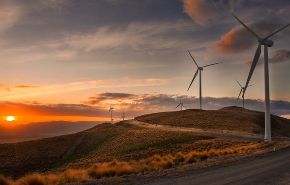 Картинка дорога, закат, ветряки