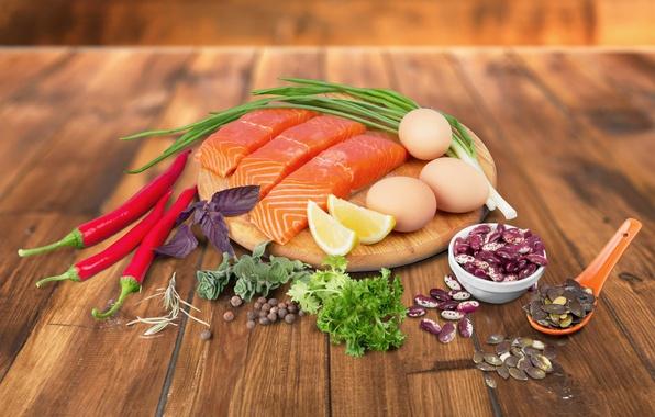 Картинка зелень, лимон, яйца, рыба, лук, доска, перец, fish, специи, pepper, seafoods