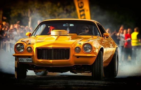 Картинка жёлтый, Chevrolet, Camaro, Chevrolet Camaro, 1972 Chevrolet Camaro