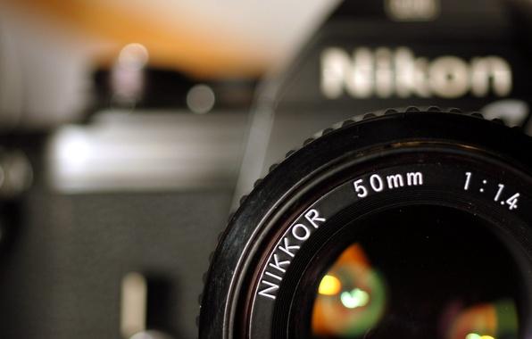 Картинка фон, widescreen, обои, фотоаппарат, Nikon, объектив, wallpaper, широкоформатные, background, бренд, Camera, brand, полноэкранные, HD wallpapers, …