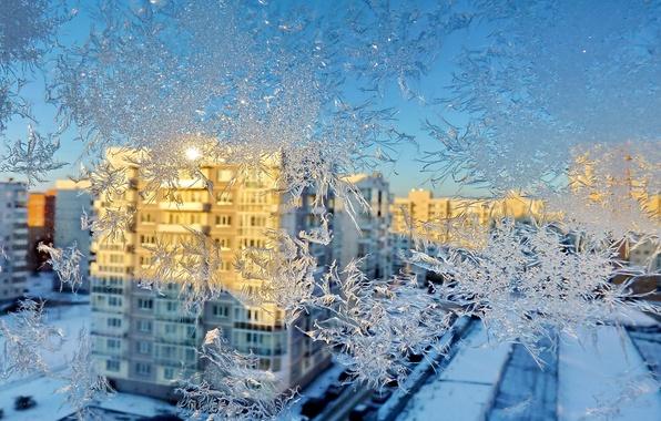 Картинка зима, узор, дома, окно, мороз