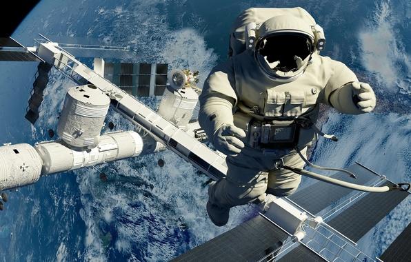 Картинка космос, космонавт, станция, выход, космическая, в открытый