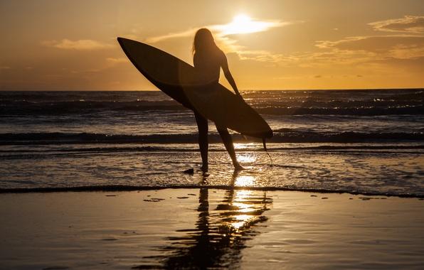 Картинка море, девушка, закат, спорт, доска