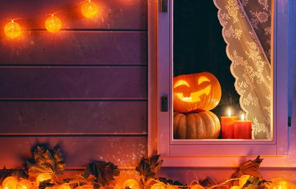 Картинка осень, ночь, окно, Halloween, тыква, Хеллоуин, autumn, pumpkin, candle, Holidays