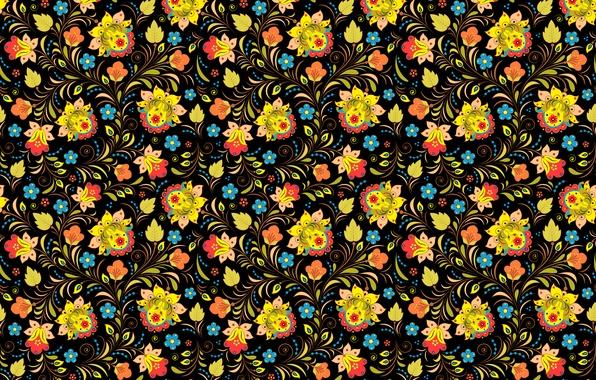 Фото обои пестрый, узор, цветы