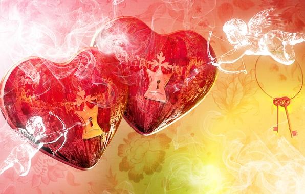 Картинка любовь, романтика, роза, сердечки, red, love, гранж, hearts, grunge, valentine's day, купидон, roses, romance, cupid, …