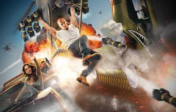Картинка машины, ракета, вертолет, Вин Дизель, Мишель Родригес, Форсаж
