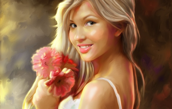Картинка девушка, цветы, улыбка, арт, блондинка