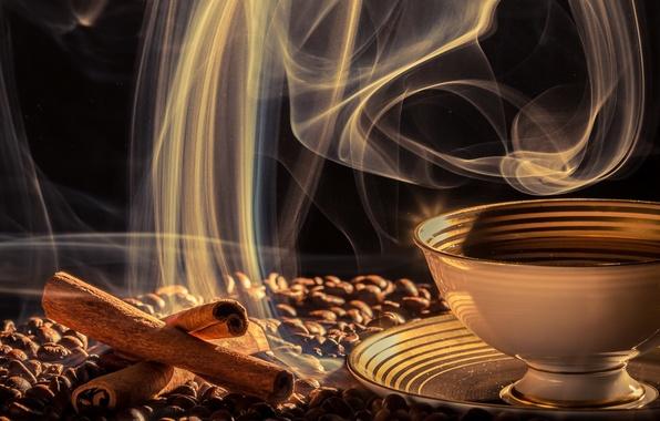 Картинка кофе, чашка, напиток, блюдце, зёрна, дымок