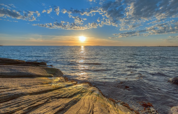Картинка море, небо, солнце, облака, закат, природа, камни, скалы