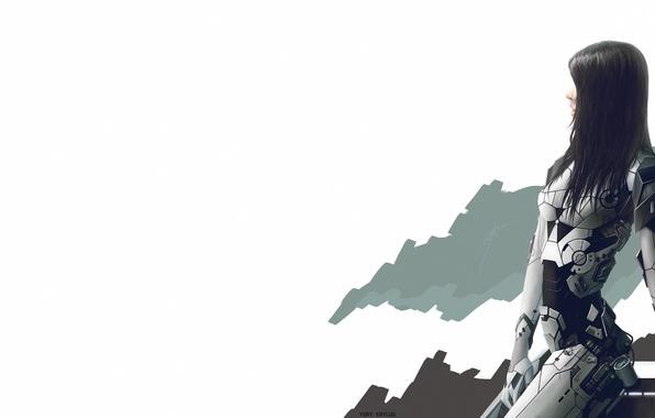 Картинка Девушка, киборг, простой фон