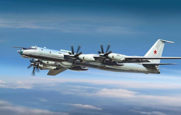 Картинка самолет, один, арт, Медведь, СССР, ВВС, ОКБ, 5000, самых, мире, обороны, Bear, предназначен, подводных, противника, …