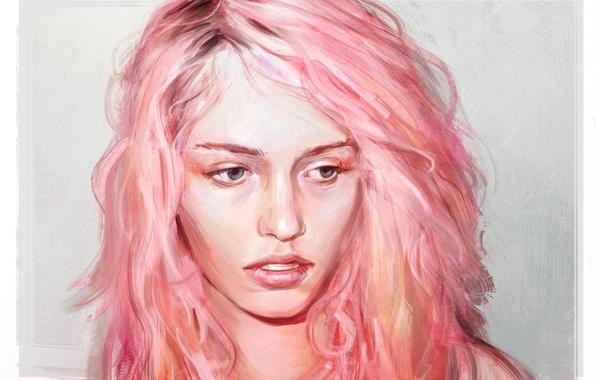 Картинка глаза, девушка, лицо, арт, розовые волосы