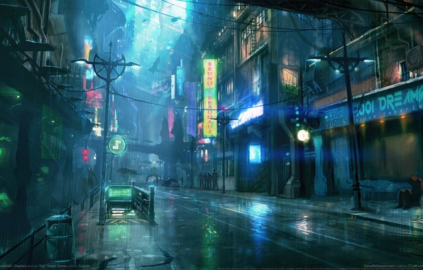 Картинка ночь, city, город, дождь, rain, night, game wallpapers, Dreamfall: Chapters