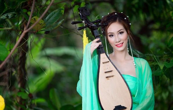 Картинка взгляд, девушка, музыка, азиатка