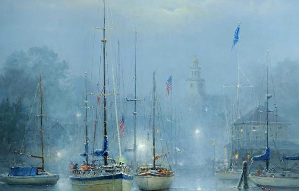 Картинка город, туман, картина, лодки, гавань, Harvey G