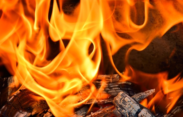 Картинка огонь, пламя, жар, дрова, камин