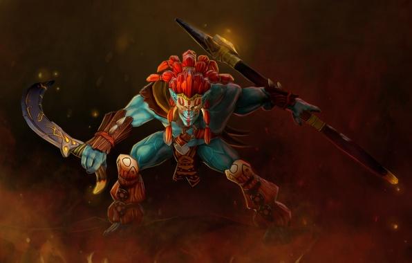 Картинка оружие, воин, арт, стойка, тролль, Dota 2, Huskar, Sacred Warrior, stephors