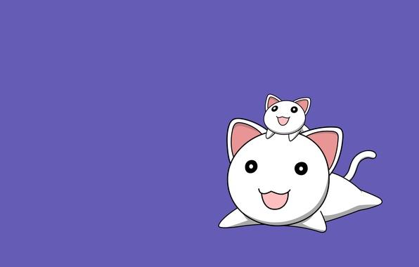 Картинка кот, улыбка, фон, сиреневый, коты, минимализм, Аниме, два