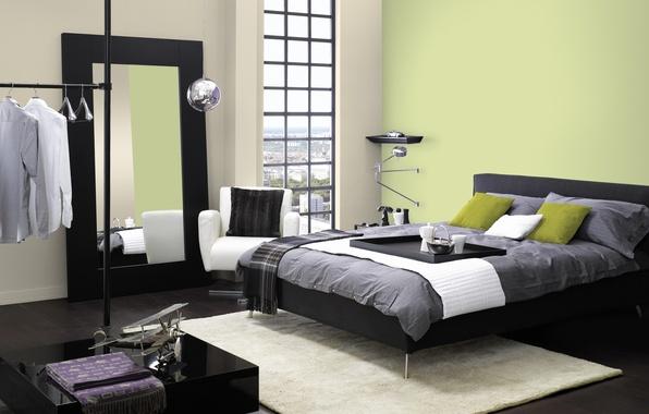 Картинка дизайн, город, дом, стиль, комната, интерьер, спальня