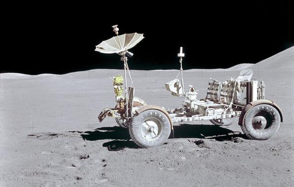 Картинка космос, обои, луна, nasa, лунный автомобиль
