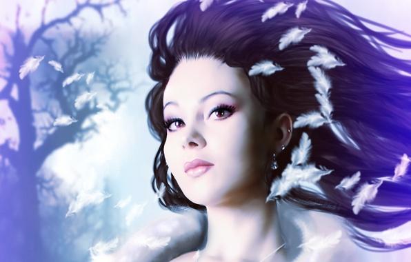 Картинка глаза, взгляд, девушка, лицо, волосы, серьги, макияж, арт, принцесса, белые перышки