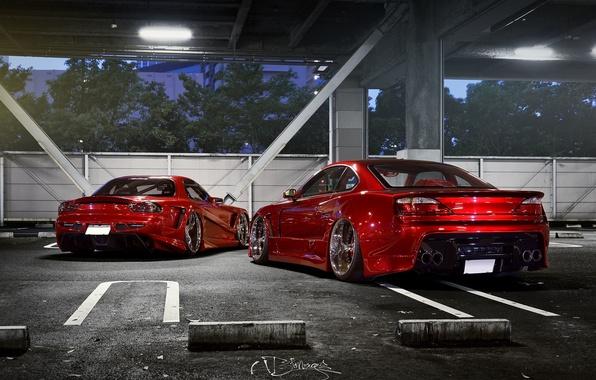 Картинка car, тюнинг, nissan, red, mazda, rx7, tuning, silvia, s15, rx-7