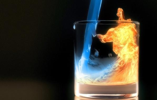 Картинка вода, ночь, стакан, огонь
