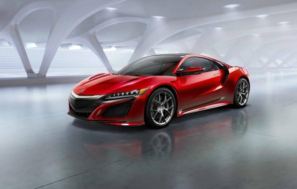 Картинка фото, Красный, Автомобиль, Acura, NSX, 2015, Металлик