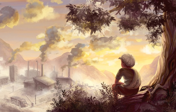 Картинка дерево, настроение, завод, дым, рисунок, мальчик, арт, постройки