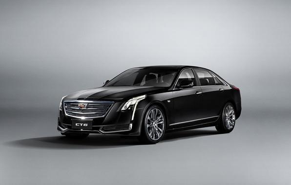Картинка белый, фон, Cadillac, седан, кадиллак, CT6