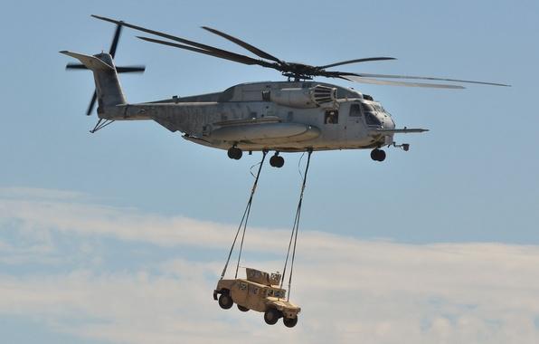 Картинка вертолёт, военный, Sikorsky, транспортный, тяжёлый, доставка, Super Stallion, CH-53E