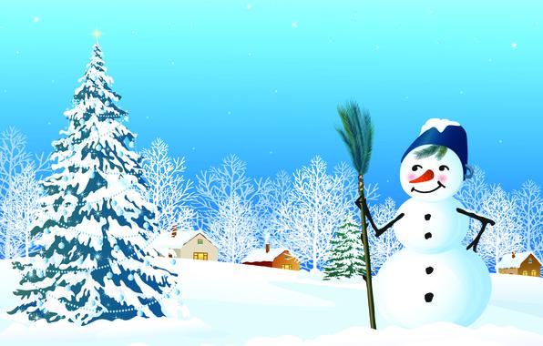 Картинка снег, окна, звёзды, домики, снеговик, ёлка, ёлочные украшения, новогодняя ночь