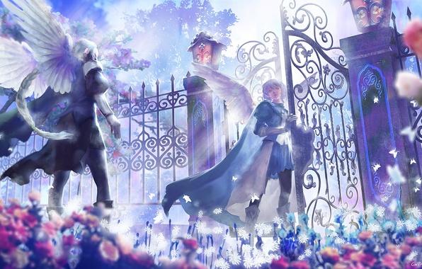 Картинка цветы, крылья, аниме, ворота, ангелы, арт, парни, lost elle
