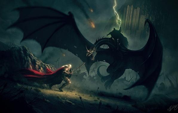 Картинка магия, властелин колец, арт, ящер, битва, назгул, nazgul, the lord of the rings, эовин, Nick …