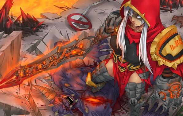 Картинка взгляд, девушка, оружие, злость, кровь, демон, art, league of legends, riven, kuma x