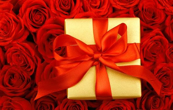 Картинка капли, цветы, коробка, подарок, розы, лента