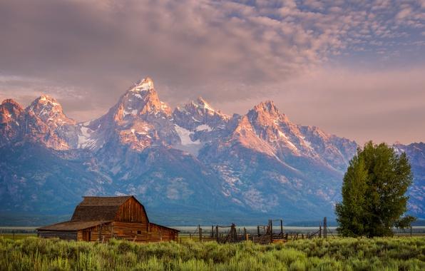 Картинка небо, облака, деревья, горы, вечер, домик, США, национальный парк, Гранд-Титон, штат Вайоминг