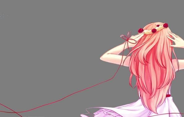 Картинка девушка, цветы, спина, розы, арт, vocaloid, венок, megurine luka, вокалоид, нитка, just be friends