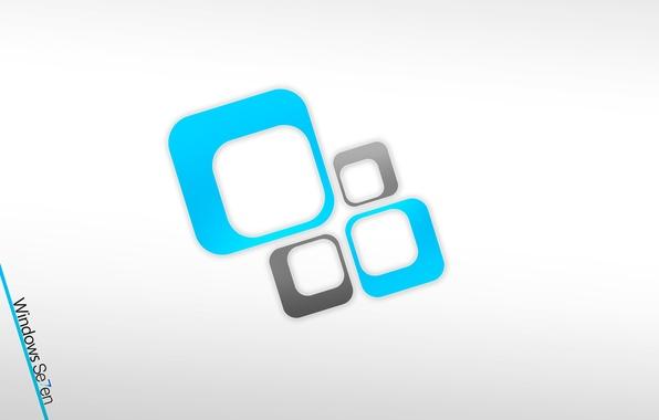Картинка seven, белый фон, windows, microsoft, hi-tech